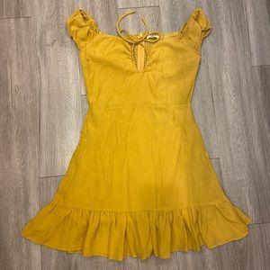 Miss Lola mustard yellow mini dress